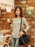 เสื้อแฟชั่น เสื้อลำลอง สีขาว แขนยาว คอกลม (ใหม่ พร้อมส่ง) ร้าน LadyShop4u