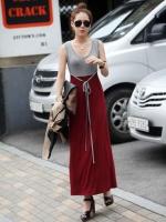 Pre order (สีแดงเทา) ชุดเดรสแซกยาวทำงาน ผ้ายืด คอกลม แขนกุด เสื้อสีเทาตัดต่อกระโปรงผ้ายืดเข้ารูปสีแดง มีเชือกผูกที่เอว (ใหม่ พรีออเดอร์) ร้าน Ladyshop4u