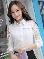 (สีขาว)เสื้อเชิ้ตทำงานแฟชั่นเกาหลีออฟฟิศ เสื้อทำงาน คอปก สีขาว แขนยาว กระดุมผ่าหน้า ช่วงแขนเป็นผ้าใยแก้วปักดอกไม้ เชิ้ตทำงานออฟฟิศ (ใหม่ พร้อมส่ง) ร้าน LadyShop4U