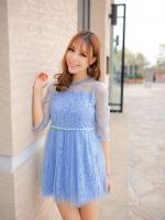 (สีฟ้า) ไซส์ M ชุดเดรสแซกสั้นแฟชั่นเกาหลี ชุดออกงาน มินิเดรส สีฟ้า คอกลม ผ้าลูกไม้ ซํบนอกผ้าซีทรู แขนสามส่วน เอวประดับมุข (ใหม่ พร้อมส่ง) ร้าน Ladyshop4u