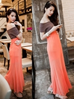 (สีส้ม+น้ำตาล)ชุดเดรสแซกยาวแฟชั่นเกาหลี เสื้อผ้ายืดสีน้ำตาลเข้ม แขนสั้น ตัดต่อกระโปรงผ้าชีฟองบานสีส้ม โชว์ไหล่ มีซับใน (ใหม่ พร้อมส่ง) ร้าน Ladyshop4u