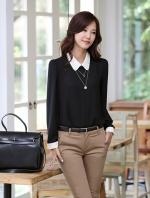 Pre order (สีดำ)เสื้อเชิ้ตทำงานแฟชั่นเกาหลี เสื้อเชิ๊ตทำงาน ผ้าชีฟอง คอปก แขนสามส่วน กระดุมหน้า (ใหม่ พรีออเดอร์) ร้าน LadyShop4U