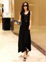 Pre order (กระโปรงสีดำ)กระโปรงยาว ผ้าคอตอน นำเข้า เข้ารูป (ใหม่ พรีออเดอร์) ร้าน Ladyshop4u