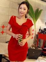 Pre order (สีแดง)ชุดเดรสแซกแฟชั่นทำงานเกาหลี สีแดง คอจับจีบโบว์ แขนสั้น กระโปรงเข้ารูป (ใหม่ พรีออเดอร์) ร้าน Ladyshop4u
