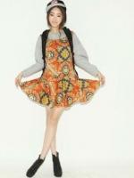 ชุดเดรสแขนกุดลายพิมพ์ สีส้ม เดรสแฟชั่น เดรสน่ารัก (ใหม่ พร้อมส่ง)ร้าน LadyShop4U