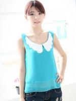 เสื้อแฟชั่นเกาหลี ผ้าชีฟอง สีฟ้า คอปกสีขาว (ใหม่ พร้อมส่ง) ร้าน Ladyshop4u