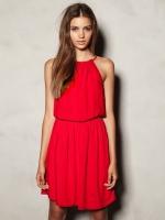 ชุดเดรสสั้นออกงาน สีแดง ไม่มีแขน จั๊มเอวยางยืด กระโปรงบาน (ใหม่ พร้อมส่ง) ร้าน Ladyshop4u