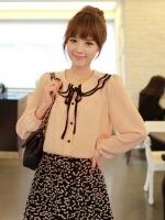 เสื้อทำงานแฟชั่นเกาหลี สีส้มโอรส ผ้าชีฟอง แขนยาว (ใหม่ พร้อมส่ง) ร้าน Ladyshop4u