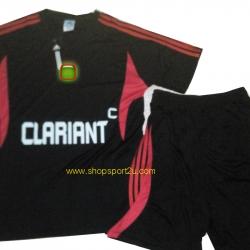 ชุดกีฬา adi... สีดำ แถบแดง