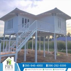 บ้านโมบาย ขนาด 6*7 เมตร ระเบียง 3*3 เมตร ยกสูง 2.5 เมตร (1ห้องนอน 1ห้องน้ำ 1ห้องรับเเขก)