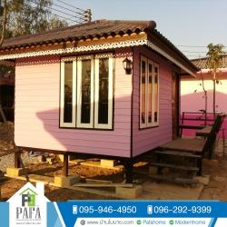 mobile home บ้านน็อคดาวน์ทรงปั้นหยา ขนาด 3*4 เมตร (1 ห้องนอน 1 ห้องน้ำ)
