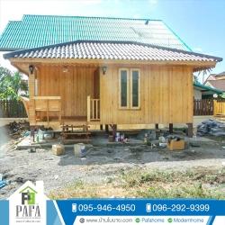 บ้านไม้สน ขนาด 3*5.5 เมตร (1 ห้องนอน 1 ห้องน้ำ)