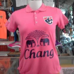 เสื้อโปโลผู้หญิงสีชมพู