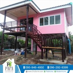 บ้านขนาด6*5.5เมตร + ระเบียง 2*3 เมตร (1ห้องนอน 1ห้องน้ำ 1ห้องนั่งเล่น 1ห้องครัว)