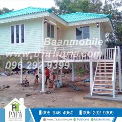บ้านน๊อคดาวน์ ขนาด 6*7 เมตร ระเบียง 3*3 เมตร ยกสูง 2 เมตร (2ห้องนอน 2ห้องน้ำ 1ห้องรับเเขก)