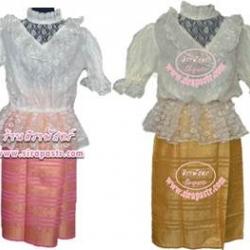 "ชุดไทยเสื้อลูกไม้แขนสั้น+ผ้าถุงสั้น (ระบุ size เสื้อ / ผ้าถุงสั้น เอว-30"") รายละเอียดในหน้าสินค้า"