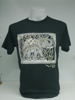เสื้อสกรีนลายช้าง สกรีนนูน ด้านหลังข้อความ Thailand