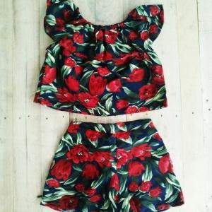 TT1002 Set เสื้อ+กางเกง สวย น่ารักมากๆๆ ค่ะ ใส่ชิวๆๆ สบาย ไปทะเลเก๋สุดๆๆ สี 3 แบบ ลายดอกคาร์เนชั่น