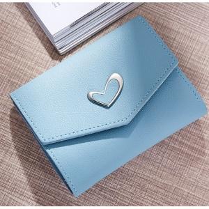 P102 กระเป๋าตังค์ Pastel Love สั้น สีฟ้า