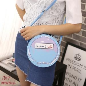 J07-กระเป๋าแฟชั่นเกาหลีทรงกลม สีฟ้า