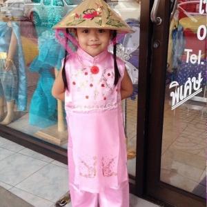 ชุดเวียดนามเด็กหญิง ผ้าแพรไหม (แขนกุด)