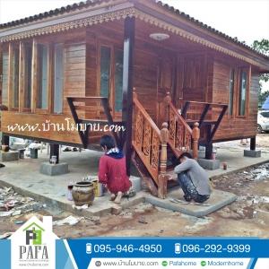 บ้านไม้สัก ขนาด 4*6 เมตร ประตูสไลด์ ทุกบาน (1 ห้องนอน 1 ห้องน้ำ 1 ห้องนั่งเล่น)
