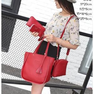 J06-กระเป๋าเซต 4 ใบหนัง PU สีแดง