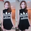 F9752 Sports Girl เดรสกระโปรงสั้น แขนกุด คอเต่า สกรีนลาย adidas สีดำ thumbnail 2