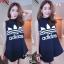 F9753 Sports Girl เดรสกระโปรงสั้น แขนกุด คอเต่า สกรีนลาย adidas สีกรม thumbnail 2
