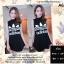 F9752 Sports Girl เดรสกระโปรงสั้น แขนกุด คอเต่า สกรีนลาย adidas สีดำ thumbnail 1