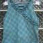 เสื้อแขนกุด สีฟ้า ลายสก๊อต มีระบายที่คอเสื้อ cutting สวยเนี๊ยบ thumbnail 1