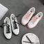 รองเท้าผ้าใบหนังนิ่มสีขาว ได้เชือก 2 สี [พร้อมส่ง] thumbnail 3