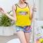 B1085 ชุดว่ายน้ำ Size XL เสื้อ+กางเกง เสื้อแบบเสื้อกล้าม สีเหลือง มีฟองน้ำเสริม กางเกงขาสั้นลายกราฟฟิค สีฟ้า ใส่สวยจ้า thumbnail 4