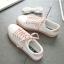 รองเท้าผ้าใบหนังนิ่มสีขาว ได้เชือก 2 สี [พร้อมส่ง] thumbnail 4