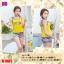 B1085 ชุดว่ายน้ำ Size XL เสื้อ+กางเกง เสื้อแบบเสื้อกล้าม สีเหลือง มีฟองน้ำเสริม กางเกงขาสั้นลายกราฟฟิค สีฟ้า ใส่สวยจ้า thumbnail 1