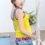 B1085 ชุดว่ายน้ำ Size XL เสื้อ+กางเกง เสื้อแบบเสื้อกล้าม สีเหลือง มีฟองน้ำเสริม กางเกงขาสั้นลายกราฟฟิค สีฟ้า ใส่สวยจ้า thumbnail 5