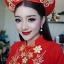 ชุดเวียดนามหญิงชั้นสูง ลายหงส์คู่มังกร (สีแดง) thumbnail 4