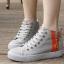 รองเท้าผ้าใบผู้หญิงหุ้มข้อแต่งซิปข้าง เสริมด้านในรวม 4.5 ซม. (พร้อมส่ง) thumbnail 2