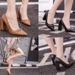 รองเท้าส้นสูง ไซต์ 35-39 สีดำ/น้ำตาล