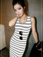 (สีขาวเทา)ชุดเดรสแซกยาวแฟชั่นเกาหลี สีขาวลายขวางสลับเทา คอกลม แขนกุด ผ้ายืด โชว์หลัง เข้ารูป (ใหม่ พร้อมส่ง) ร้าน Ladyshop4u