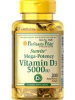 Puritan's Pride Vitamin D3 5000IU 200Softgels. เสริมสร้างกระดูกและฟัน และดูแลระบบต่างๆในร่างกายให้สมดุล