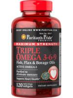 Maximum Strength Triple Omega 3-6-9 Fish Flax Oils 120 Softgels รวมโอเมก้าที่เข้มข้นที่สุด
