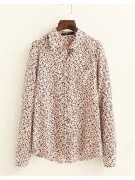 [พร้อมส่ง] T0073 เสื้อเชิ๊ตแขนยาวผ้าคัตตอนพิมพ์ลายดอกไม้สไตล์ญี่ปุ่น