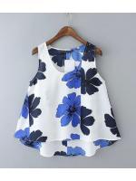 [พร้อมส่ง] T0111 เสื้อแขนกุดลายดอกไม้งานสไตล์เกาหลี