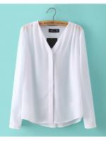 [พร้อมส่ง] T0146 เสื้อแฟชั่นคอวีแขนยาวไหลจีบ (สีชมพู,สีขาว)