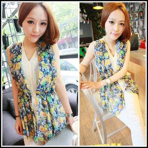 เสื้อแฟชั่น สีBlue Floral ไซส์: F