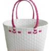 ตะกร้าสานพลาสติก กระเป๋าสานพลาสติก ATS - สายบานเย็น กว้าง 14 cm. ยาว 32 cm. สูง 20 cm.