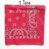 1โหล สีแดง ผ้าพันคอคาวบอย ผ้าโพก Bandanas Prisley