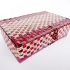 ตะกร้าสานพลาสติก กระเป๋าสานพลาสติก 4MF แดง กว้าง 24 cm. ยาว 34 cm. สูง 10 cm.
