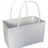 ตะกร้าพลาสติกสาน กระเป๋าพลาสติกสาน  JLM-White   กว้าง 21 cm. ยาว 34 cm. สูง 27 cm.